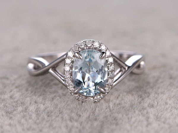7x9mm Oval Natural Aquamarine Ring!Diamond Engagement ring White gold,Bridal ring,Halo,Blue Stone Gemstone Promise Ring,Curved wedding band