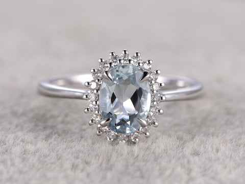 7x9mm Oval Natural Aquamarine Ring!Diamond Engagement ring Plain White gold,Bridal,Halo Flower,Blue Stone Gemstone Promise Ring,wedding band