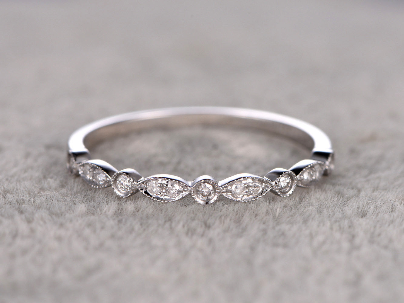 Natural Diamonds,Half Eternity Wedding Ring,Solid 14K White gold,Anniversary Ring,Art deco Marquise style,stacking,milgrain,Matching band