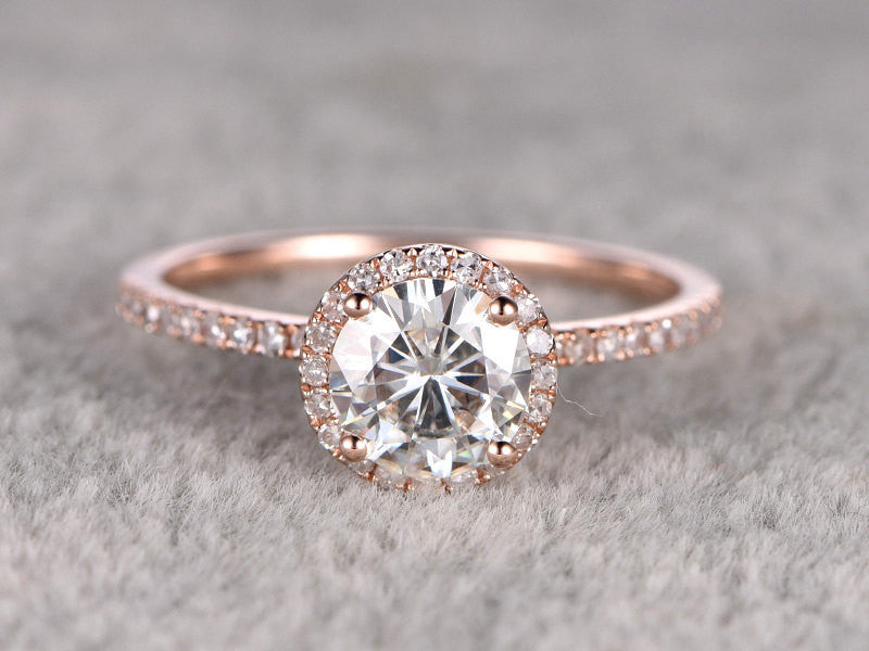 1.25ct brilliant Moissanite Engagement ring Rose gold,Classic Halo,Diamond wedding band,14k,7mm Round Cut