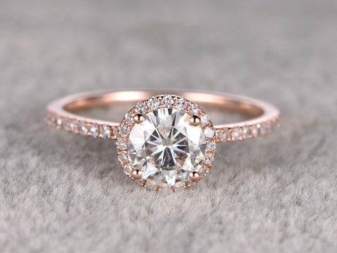 Classic Halo Moissanite Engagement Ring Rose gold,14k,7mm Round Cut Moissanite(1.25ct )