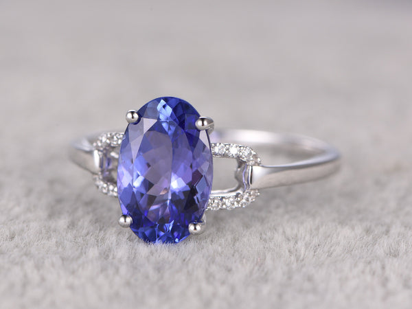 2.35ctw Oval Tanzanite Engagement ring,Diamond Promise Ring,14K White Gold,Bridal Ring,wedding band,Blue 5A Gem Stone ring,Prong set