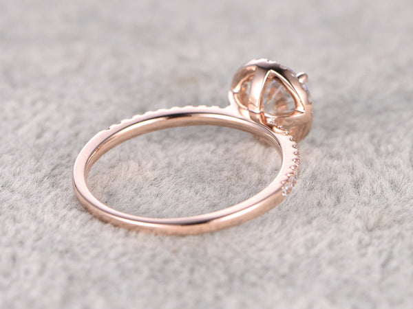 6.5mm brilliant Moissanite Engagement ring Rose gold,Diamond wedding band,14k,1ct Round Cut,Classic halo