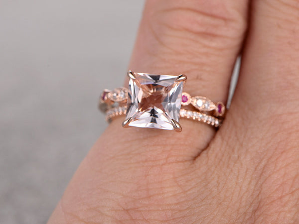 2pcs Morganite Bridal Ring Set,Engagement ring Rose gold,Diamond Ruby wedding band,14k,8mm Big Princess Cut,Gemstone Promise Ring,Art Deco