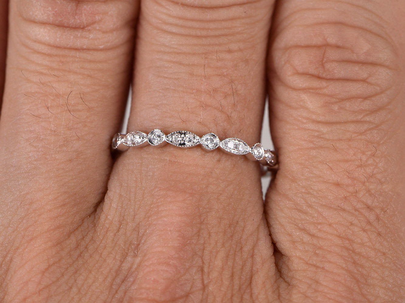 White sapphire Half Eternity Wedding Ring,Solid 14K White gold,Anniversary Ring,Art deco Marquise style,stacking,milgrain,Matching band
