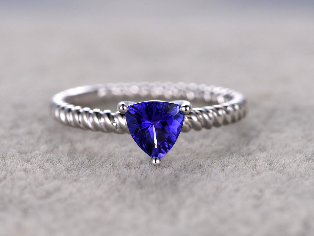 Trillion Tanzanite Engagement ring,Solitaire ring,Twist wedding band,14K White Gold
