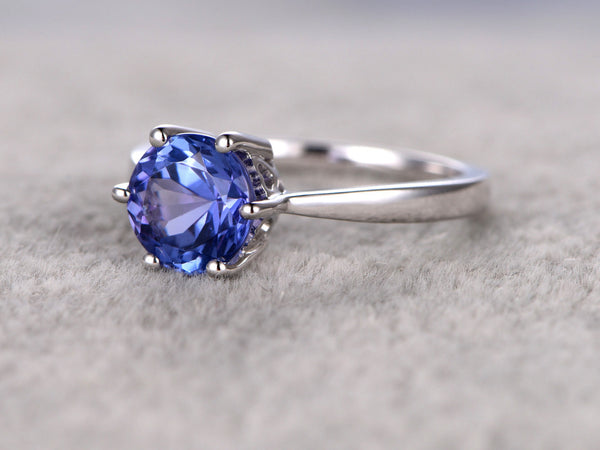 7mm Round Tanzanite Engagement ring,Solitaire wedding band,14K Plain White Gold,Gemstone Promise Bridal Ring,Blue Stone ring,6-Prongs set