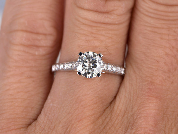 1ct brilliant Moissanite Engagement ring White gold,Moissanite wedding band,14k,6.5mm Round Cut,Gemstone Promise Bridal Ring,Anniversary