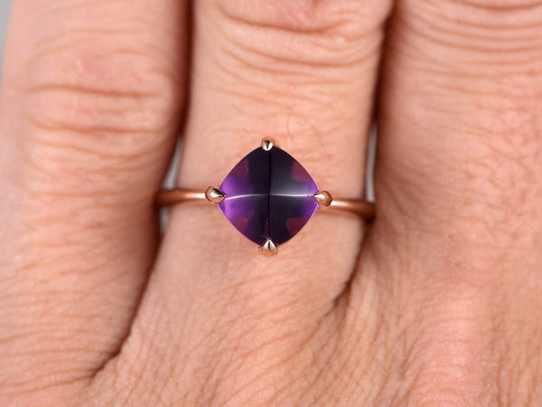 8mm Cushion Amethyst Engagement ring,Solitaire wedding band,14K Rose Gold,Purple stone Promise Ring,Bridal Ring,Birthstone Stacking Ring