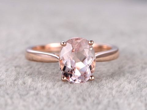 7x9mm Morganite Solitaire Engagement ring Rose gold,Plain gold wedding band,14k,Oval Cut,Gemstone Promise Bridal Ring,Prongs