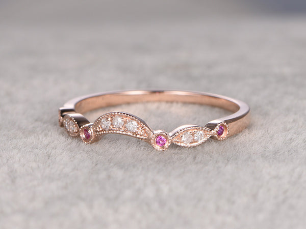 Natural Ruby and Diamond,Eternity Wedding Band,Solid 14K Rose gold,Anniversary Ring,Art deco,stackable ring,Curved,milgrain,Valentine's Gift
