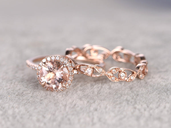 Awesome 2 Morganite Bridal Ring Set,Engagement Ring Rose Gold,Diamond Wedding  Band,14k