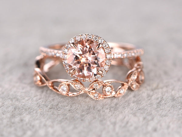 2 Morganite Bridal Ring Set,Engagement ring Rose gold,Diamond wedding band,14k,7mm Round Gemstone Promise Ring,Halo,Floral Matching band