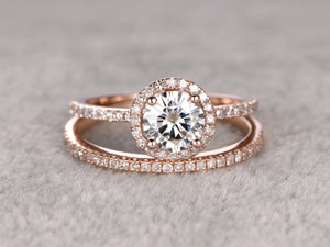 2 Moissanite Bridal Set,Engagement ring Rose gold,Diamond wedding Matching band,14k,6.5mm Round Cut,Gemstone Promise Ring,Pave,Half eternity