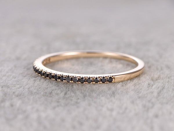 Thin design,Black Diamond Wedding Ring,14K Yellow gold,Anniversary Ring,Half Eternity Band,stackable ring,milgrain,Matching band,Micro pave
