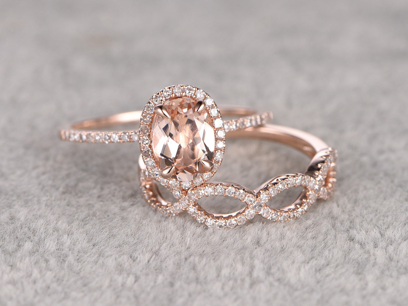 2pcs Morganite Bridal Ring Set,Engagement ring Rose gold,Diamond wedding band,14k,6x8mm Oval Cut,Promise Ring,Loop curved matching band