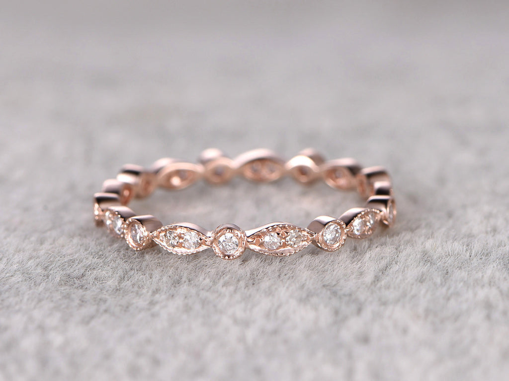 White sapphire Full Eternity Wedding Ring,Solid 14K Rose gold,Anniversary Ring,Art deco style,stackable ring,milgrain,Retro vintage fine