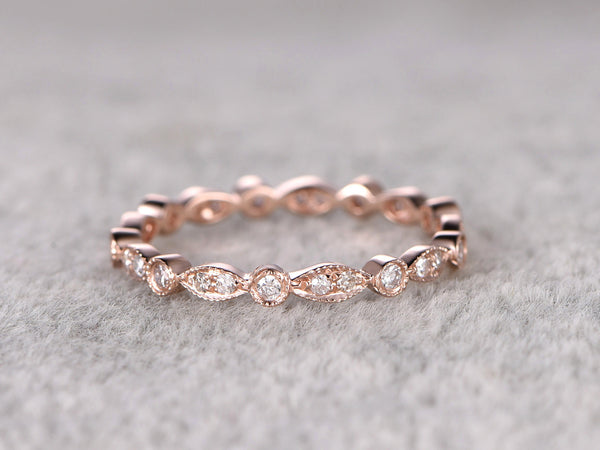 Moissanite Full Eternity Wedding Ring,Solid 14K Rose gold,Anniversary Ring,Art deco style,stackable ring,milgrain,Retro vintage fine