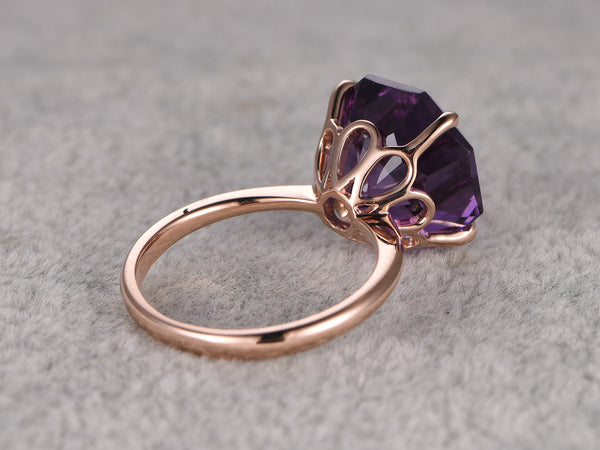 Big hexagon Amethyst Engagement ring,Solitaire wedding ring,14K Rose Plain Gold Band,Purple stone Promise Ring,Bridal Ring,Stacking Ring