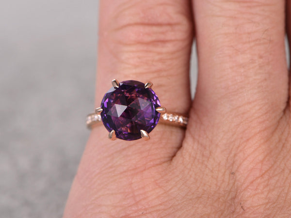 Round Amethyst Engagement ring,Diamond wedding ring,14K Rose Gold Band,6-Prongs,Purple stone Promise Ring,Bridal Ring,Birthstone New Design