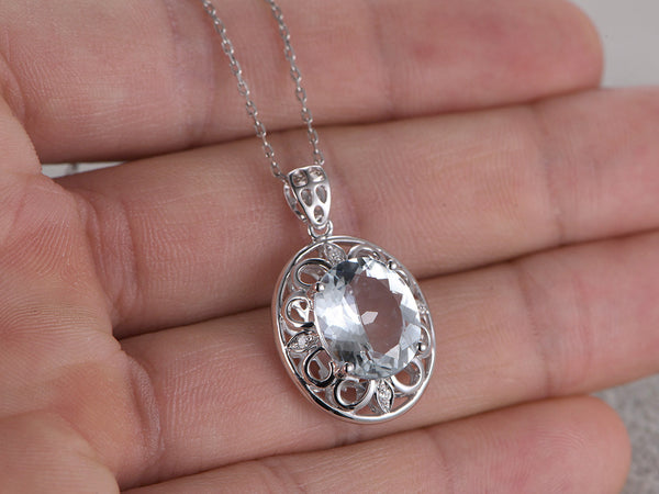 5.06ctw Natural Aquamarine Pendant!Diamond 14k White gold,Floral Flower,Oval cut Blue Stone Gemstone Promise,wedding,Prong,Filigree set