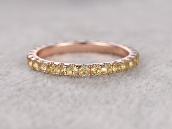Full eternity Peridot Wedding Band,Solid 14K Rose gold,Anniversary Ring,Engagement stacking ring,Prong Set,2mm Green gem stone,can engrave