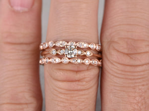 3pcs Moissanite Bridal Set,Engagement ring Rose gold,Full eternity Diamond wedding band,5mm Round stone Promise Ring,Art Deco Inifinity ring