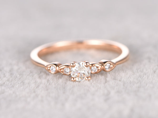 5mm Round brilliant Moissanite Engagement ring Rose gold,Diamond wedding band,14k Solid gold,Gem stone Promise Bridal Ring,Anniversary Ring