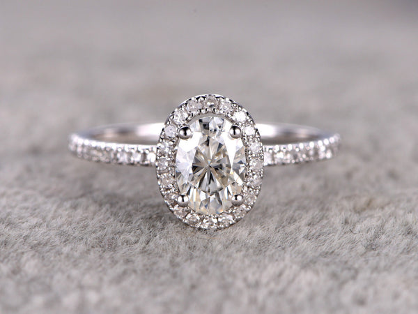 1ct brilliant Moissanite Engagement ring White gold,Diamond wedding band,14k,5x7mm Oval Cut,Gemstone Promise Bridal Ring,Anniversary,Halo