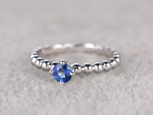 Sapphire Engagement ring,Solitaire wedding band,14K White Plain Gold,Gemstone Promise Bridal Ring,Blue stone ring