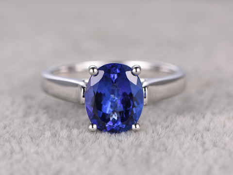 2.81ct 5A Tanzanite Engagement ring,Solitaire wedding band,14K Plain White Gold,Gemstone Promise Bridal Ring,Natural Blue Stone ring