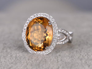 8.88ct BIG Natural Citrine Bridal Ring,Engagement ring,14k White gold,Halo Diamond wedding band,Curved Loop,Promise Ring,8-ball-prong set