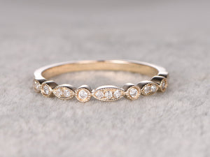 Natural Diamonds,Half Eternity Wedding Ring,14K Yellow gold,Anniversary Ring,Art deco Antique Marquise,stackable ring,milgrain,Matching band
