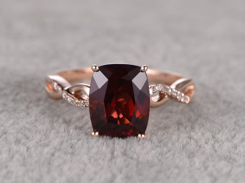 Cushion Natural Garnet Engagement ring,Diamond Loop curved wedding band,14K Rose Gold,Red stone Promise Ring,Bridal Ring,Stacking Ring
