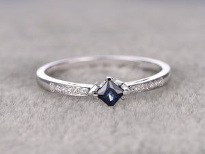 Princess Cut Sapphire Engagement ring,Diamond wedding band,14K White Gold