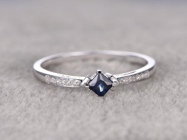 0.35ctw Natural Sapphire Engagement ring,Diamond wedding band,14K White Gold,Princess cut,Gemstone Promise Bridal Ring,Blue stone ring
