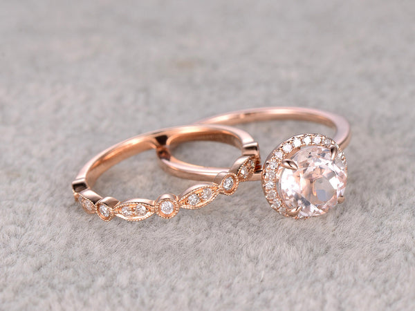 2 Morganite Bridal Set,Engagement ring Plain Rose gold,Diamond wedding band,7mm Round Gemstone Promise Ring,Claw Prongs,Pave Set,Art Deco