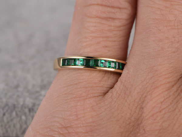 Princess Cut Emerald Wedding Band,Solid 14K Yellow gold,Anniversary Ring,Engagement stacking ring,Channel Set,Lab-treated Emerald,Eternity