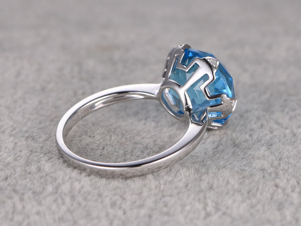Big 12mm Topaz Engagement ring,Diamond 6-Claw wedding ring,14K White Gold Band,Swiss blue stone Promise Ring,Bridal Ring,New Design