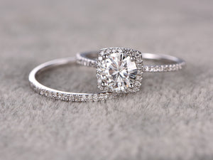 2 Moissanite Bridal Set,Engagement ring White gold,Diamond wedding band,6.5mm Round Cut,Gemstone Promise Ring,Pave Set,Wedding ring set