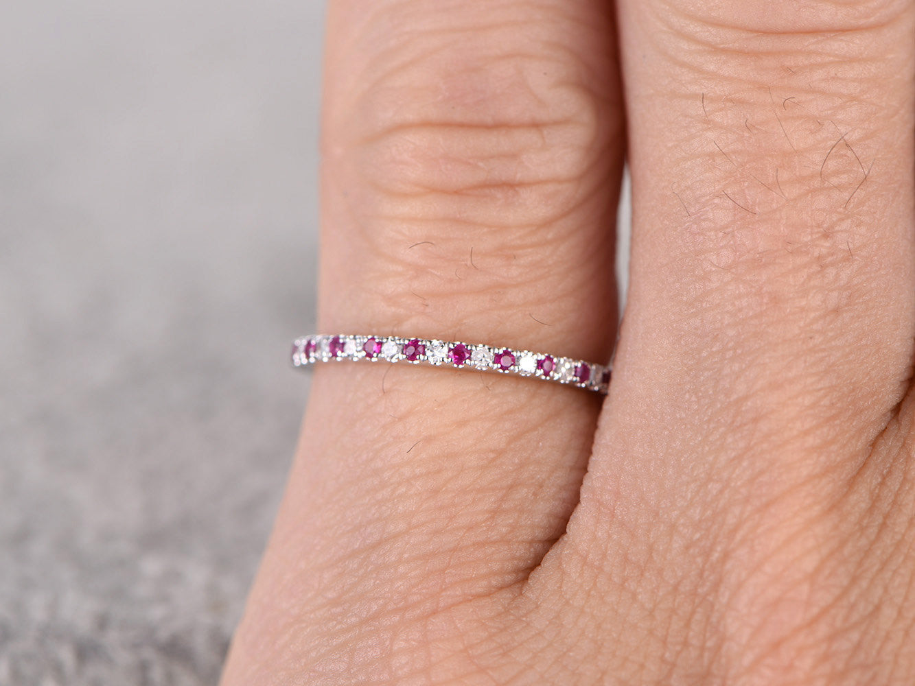 Thin design,Ruby Diamond Wedding Ring,14K White gold,Anniversary Ring,Half Eternity Band,stackable ring,milgrain,Matching band,Micro pave