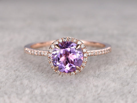 Natural Amethyst Engagement ring,Halo Diamond wedding ring,14K Rose Gold Band,7mm Round Cut Purple stone Promise Ring,Bridal Ring,New Design