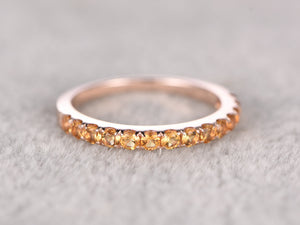 Half eternity Citrine Wedding Band,Solid 14K Rose gold,Anniversary Ring,Engagement stacking ring,Prong Set,2mm Yellow gem stone,can engrave