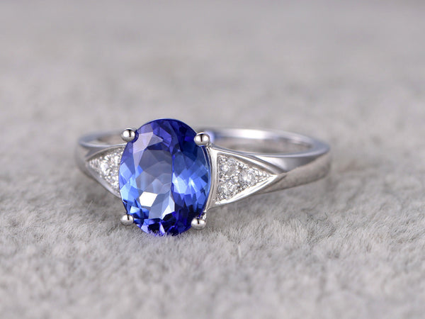 2.15ctw 5A Oval Tanzanite Engagement ring,Diamond Promise Ring,14K White Gold,Bridal Ring,wedding band,Blue Gem Stone ring,Ball Prong set