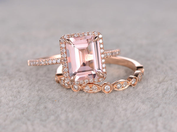 2pc 8x10mm Morganite Bridal Set,Engagement ring Rose gold,Diamond wedding band,14k,Emerald Cut,Gemstone Promise Ring,Claw Prongs,Pave Set