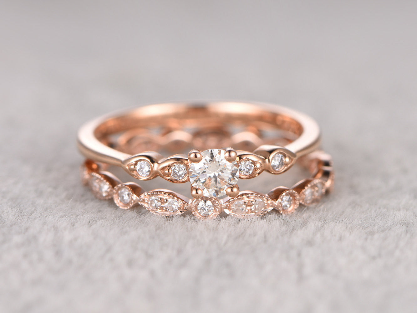 2pcs Moissanite Bridal Set,Engagement ring Rose gold,Full eternity Diamond wedding band,5mm Round stone Promise Ring,Art Deco Inifinity ring