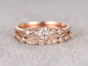 2pcs Moissanite Bridal Set,Engagement ring Rose gold,Half eternity Diamond wedding band,5mm Round stone Promise Ring,Art Deco Inifinity ring