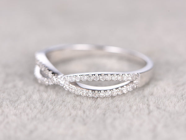 Natural Diamonds,Half Eternity Wedding Ring,14K White gold,Anniversary Ring,Loop curved design,stackable ring,Matching band,Engagement ring