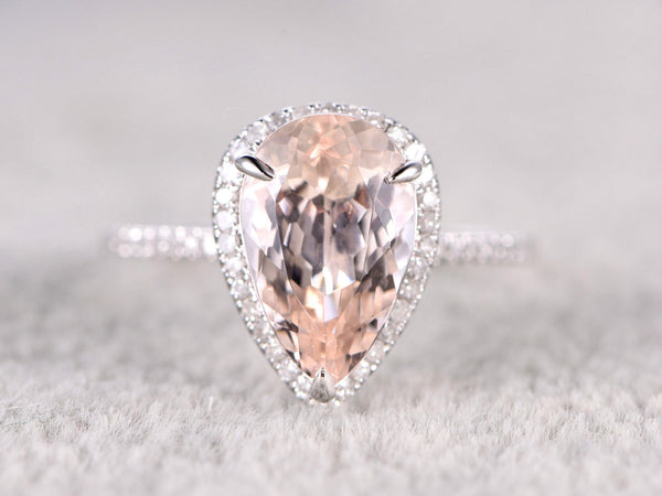 BIG 8x12mm Morganite Engagement ring White gold,Diamond wedding band,14k,Pear Shaped Cut,Gemstone Promise Bridal Ring,Claw Prongs,Halo ring