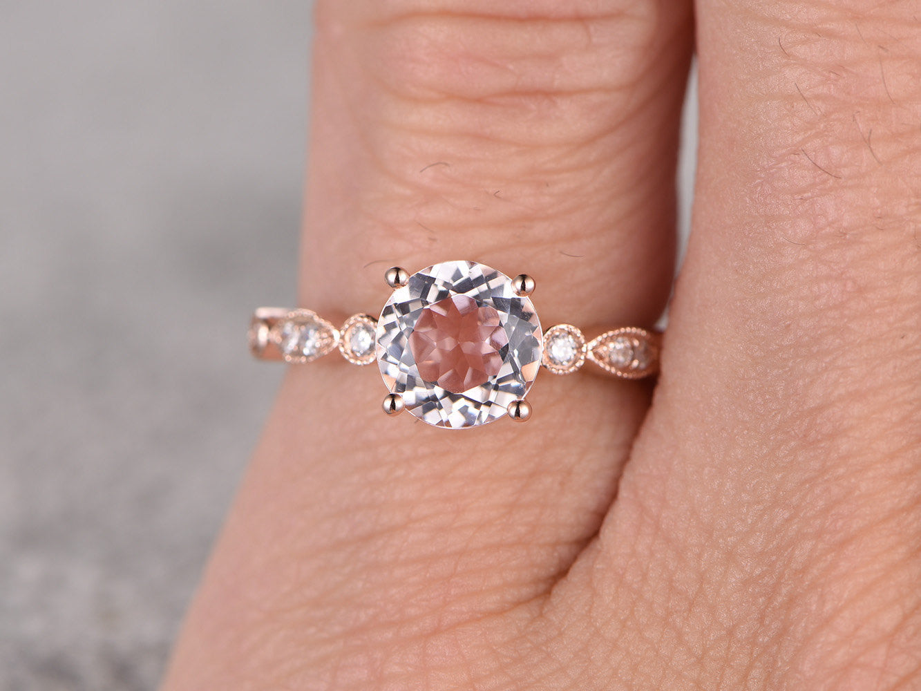 Morganite Engagement ring Rose gold,Diamond wedding band,14k,6.5mm Round Cut,Gemstone Promise Bridal Ring,Art Deco matching band,ball-prong